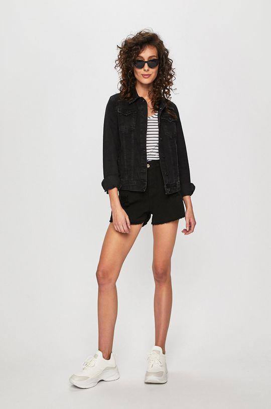 Answear - Rifľové krátke nohavice čierna