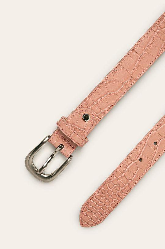 Answear - Pasek skórzany pastelowy różowy