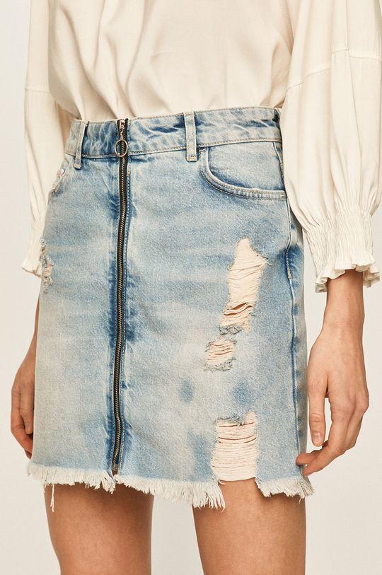 modrá Answear - Rifľová sukňa Dámsky