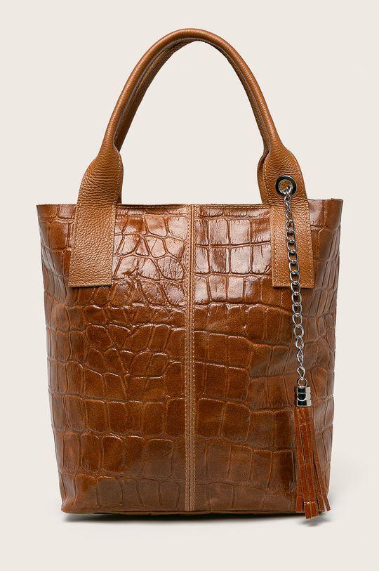 кафяв Answear - Кожена чанта Жіночий
