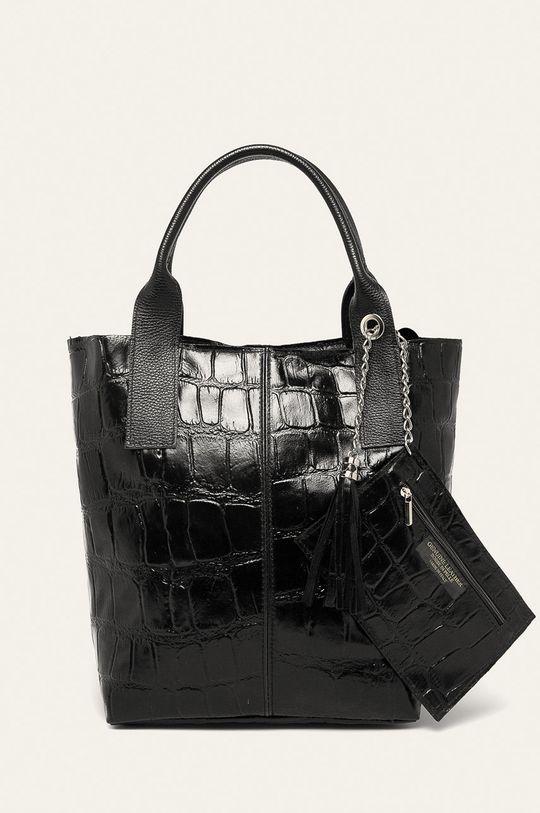 черен Answear - Кожена чанта Жіночий