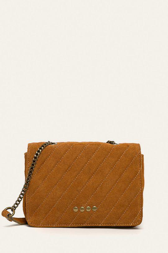 златисто-кафяв Answear - Кожена чанта Жіночий