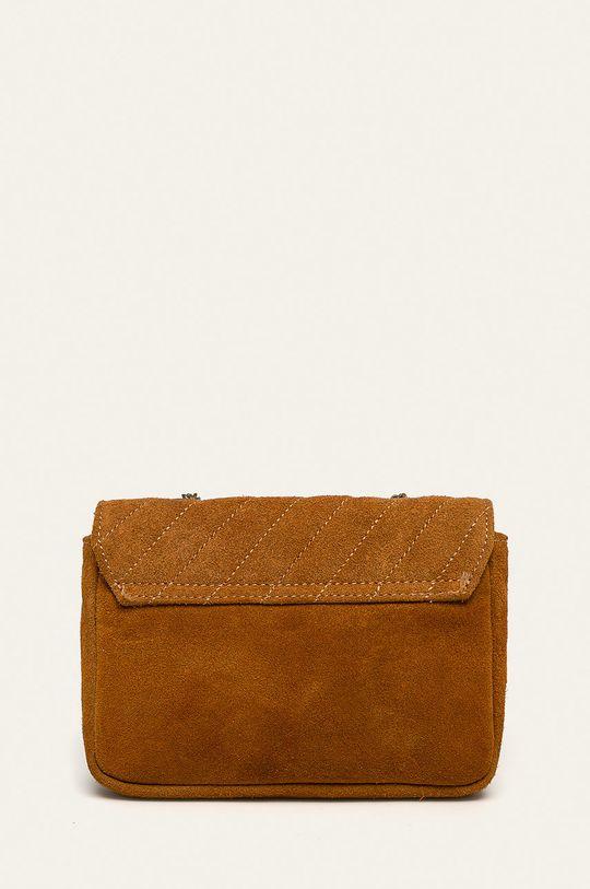златисто-кафяв Answear - Кожена чанта