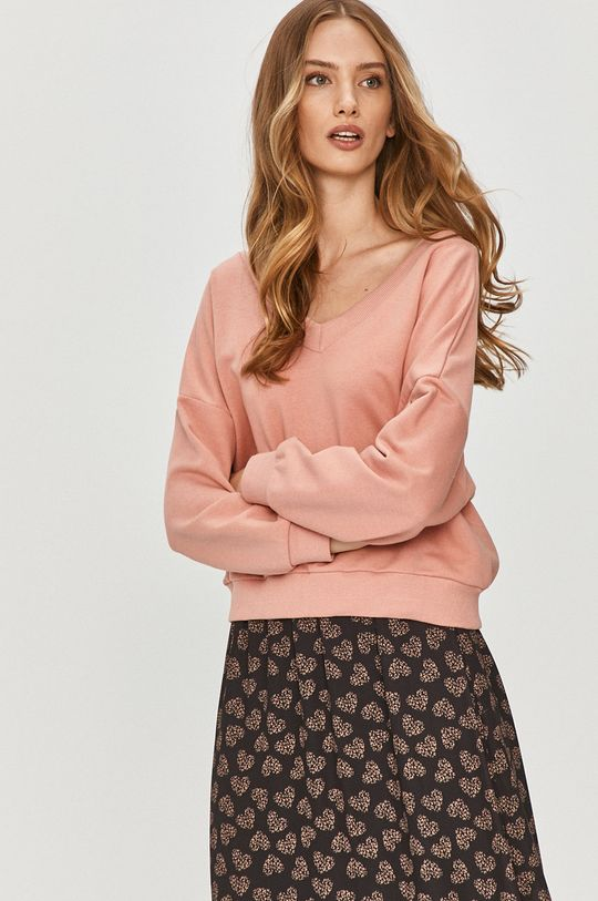 różowy Answear Lab - Bluza bawełniana