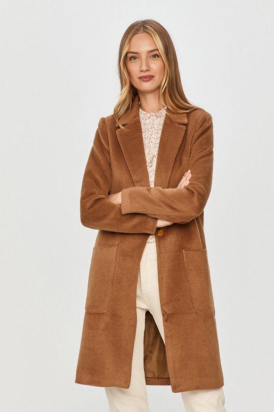 zlatohnědá Answear Lab - Kabát s vlněnou směsí s vlněnou směsí s vlněnou směsí s vlněnou směsí
