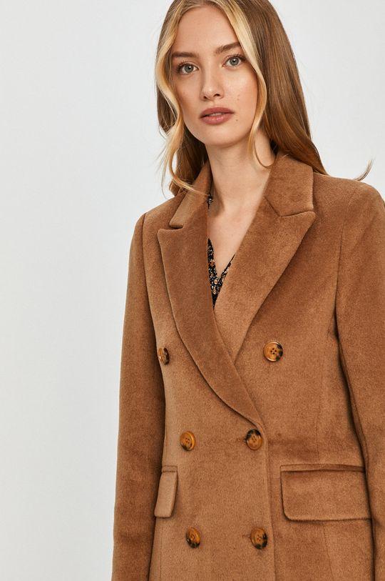 złoty brąz Answear Lab - Płaszcz z domieszką wełny