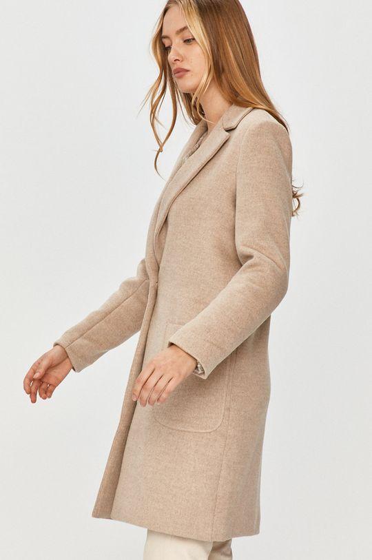 béžová Answear Lab - Kabát s vlněnou směsí s vlněnou směsí s vlněnou směsí s vlněnou směsí Dámský
