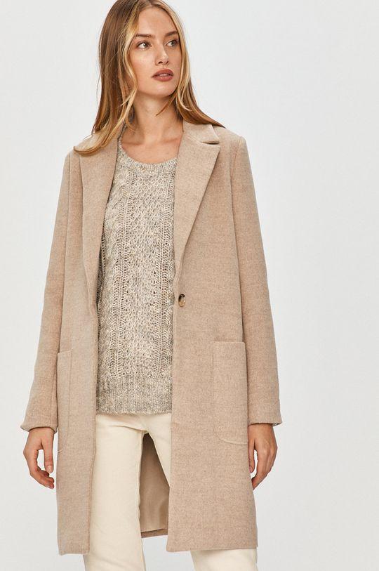 béžová Answear Lab - Kabát s vlněnou směsí s vlněnou směsí s vlněnou směsí s vlněnou směsí