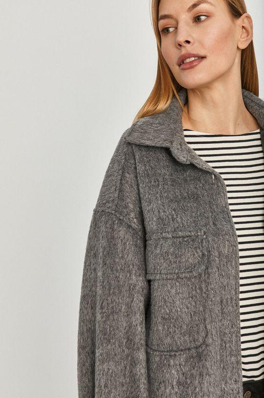 szary Answear Lab - Płaszcz z domieszką wełny