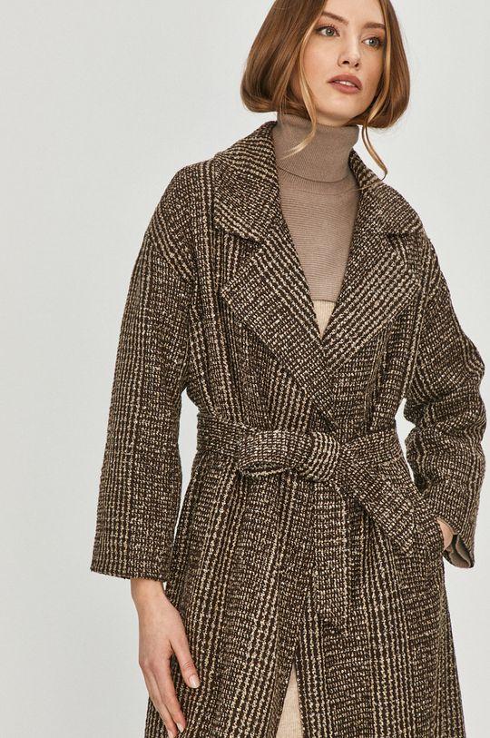 brązowy Answear Lab - Płaszcz z domieszką wełny Damski