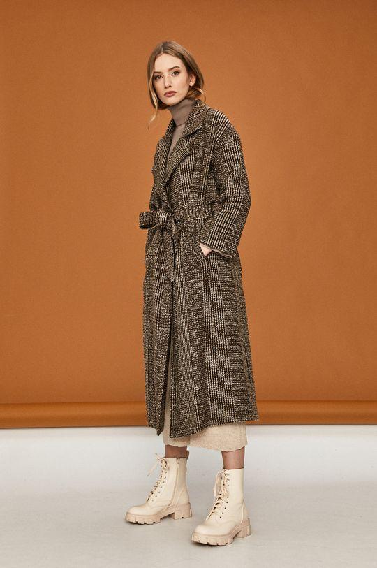 Answear Lab - Płaszcz z domieszką wełny brązowy