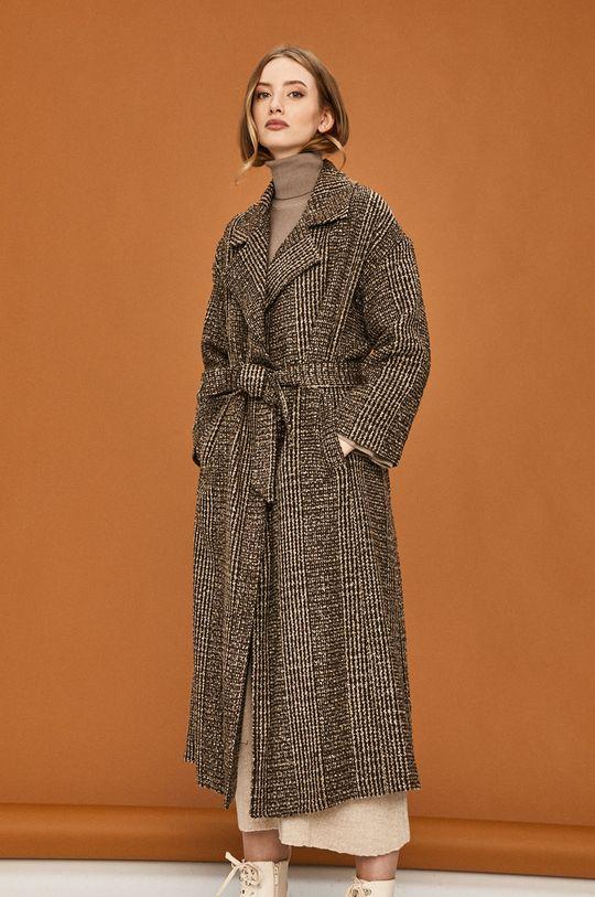 brązowy Answear Lab - Płaszcz z domieszką wełny