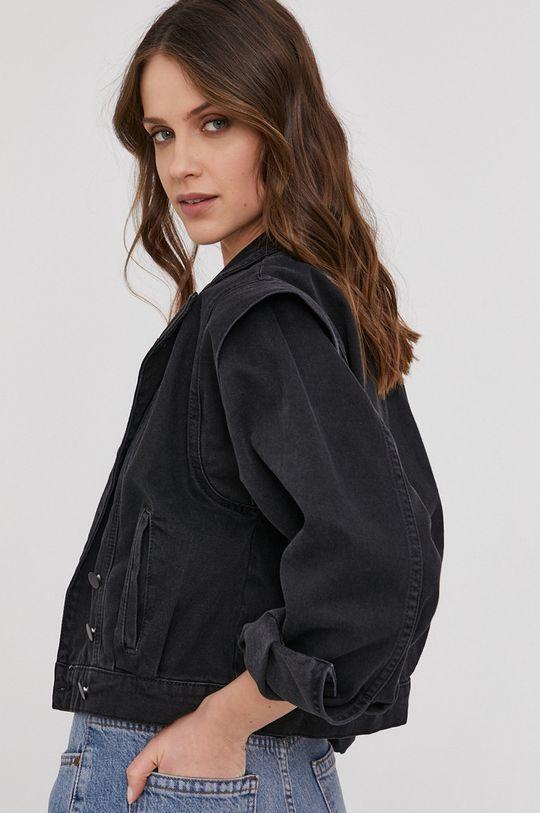čierna Answear Lab - Rifľová bunda Dámsky