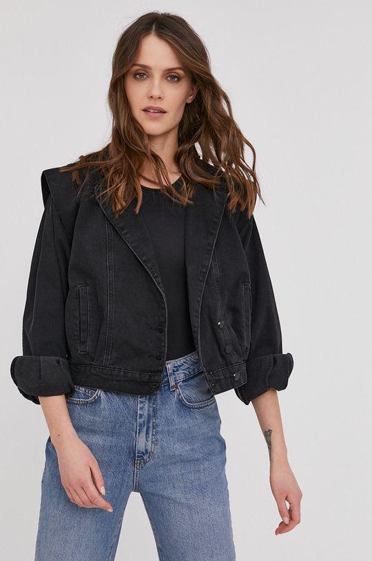 čierna Answear Lab - Rifľová bunda