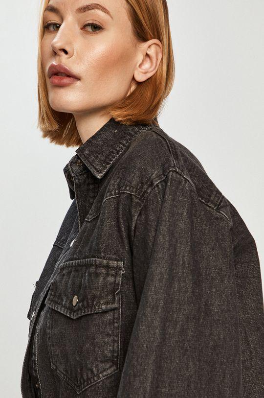 szary Answear Lab - Kurtka jeansowa