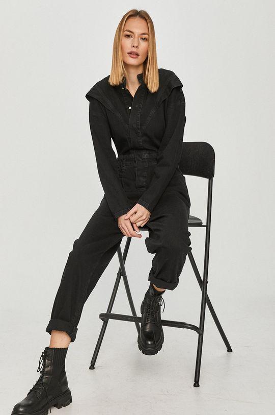 czarny Answear Lab - Kombinezon jeansowy Damski