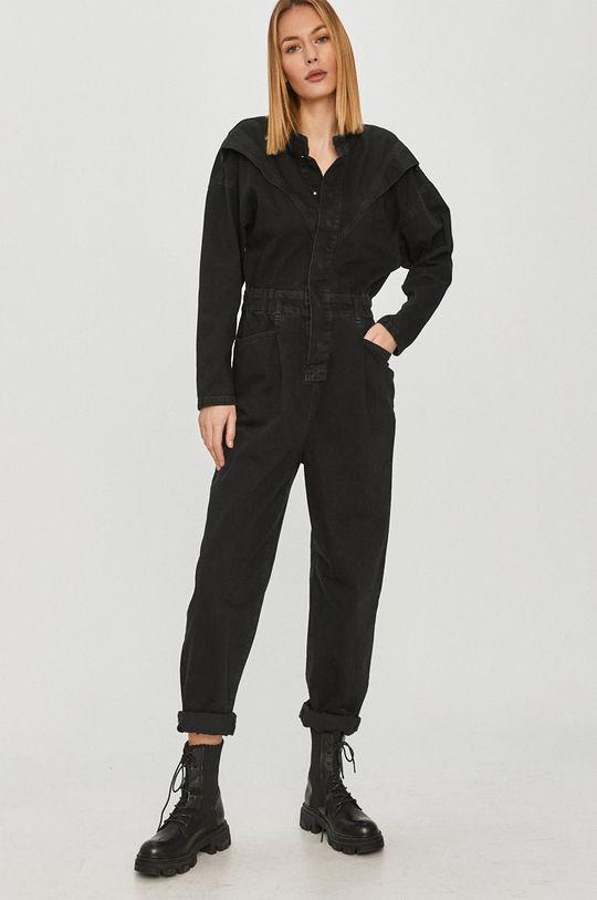 Answear Lab - Kombinezon jeansowy czarny
