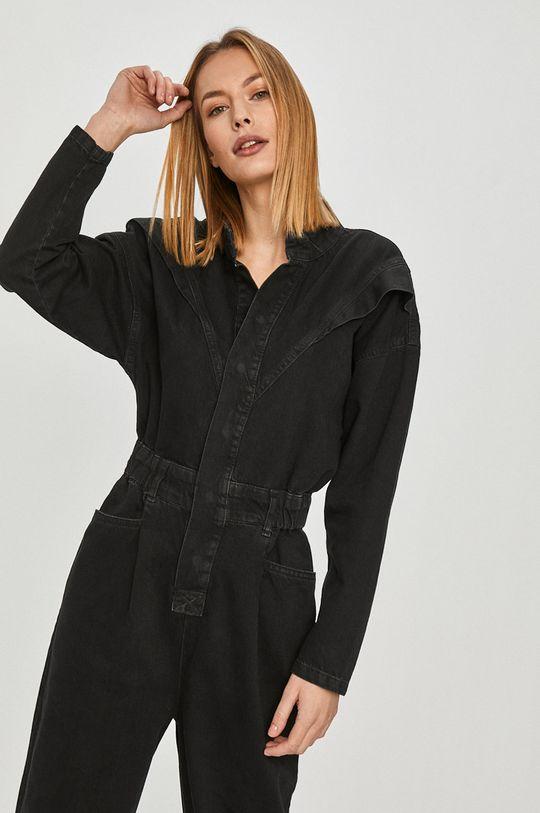 czarny Answear Lab - Kombinezon jeansowy