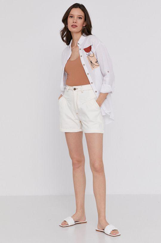 Answear Lab - Szorty jeansowe biały
