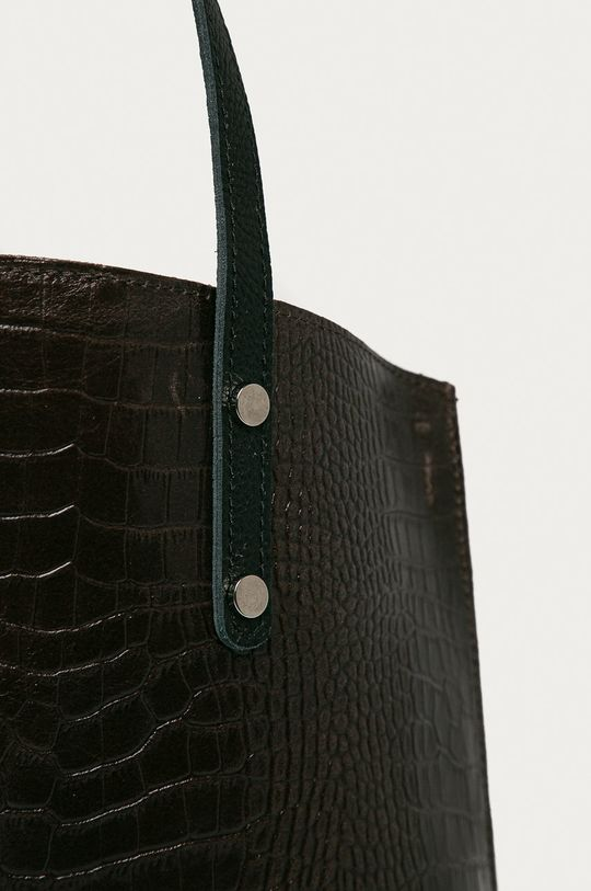 Answear Lab - Kožená kabelka tmavě hnědá