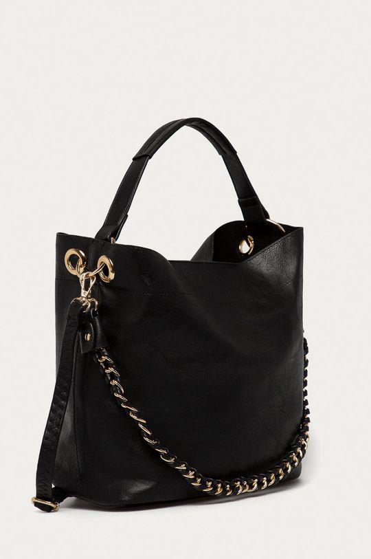 Answear Lab - Kožená kabelka čierna