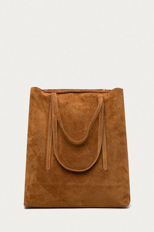 Answear Lab - Semišová kabelka  100% Prírodná koža