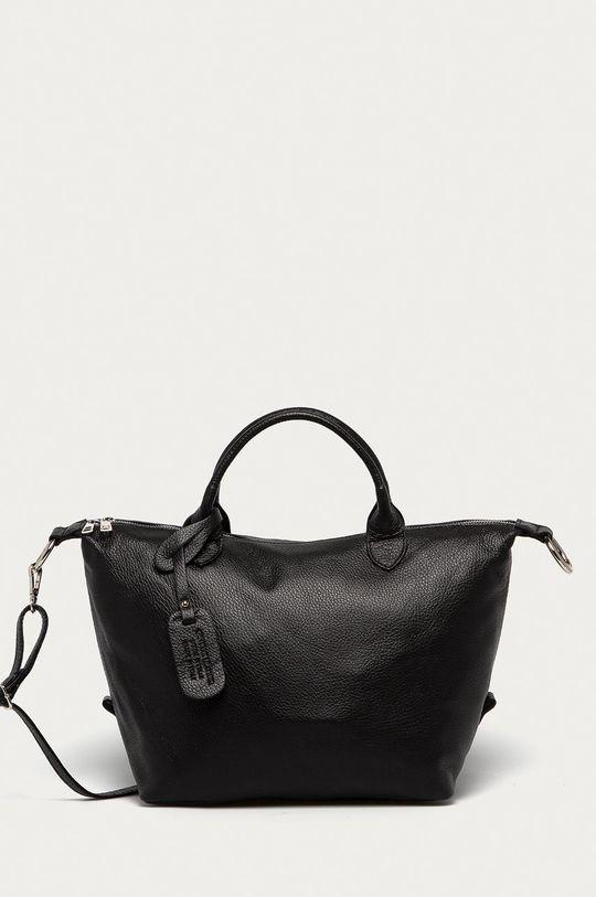 čierna Answear Lab - Kožená kabelka z narodeninovej kolekcie Dámsky