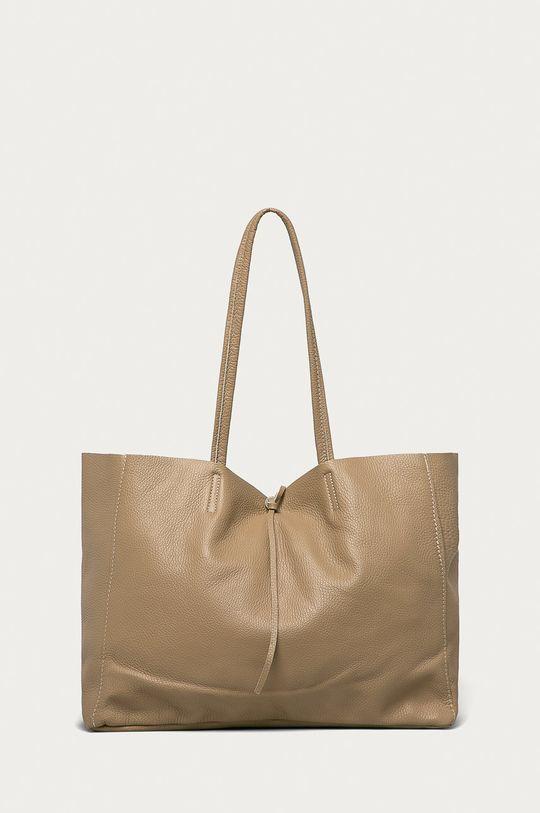 béžová Answear Lab - Kožená kabelka z narozeninové kolekce Dámský
