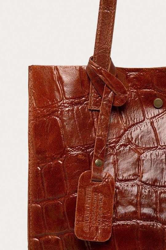 Answear Lab - Kožená kabelka kaštanová