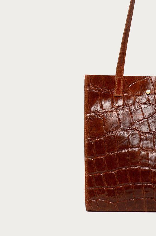 kaštanová Answear Lab - Kožená kabelka