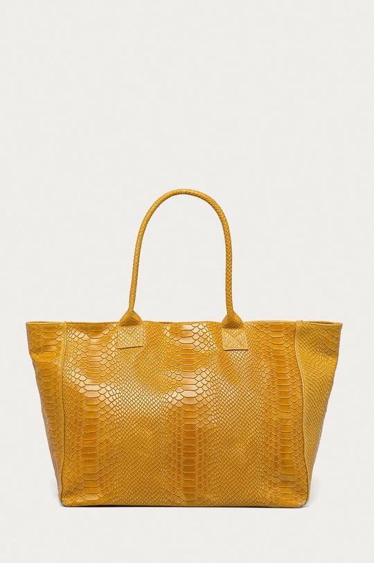 žlutá Answear Lab - Kožená kabelka Dámský