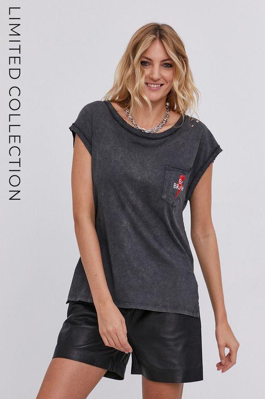 czarny T-shirt answear.LAB X kolekcja limitowana GIRL POWER, model HAND DYED Damski