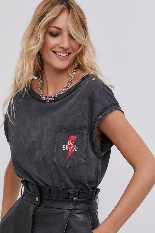 czarny T-shirt answear.LAB X kolekcja limitowana GIRL POWER, model HAND DYED