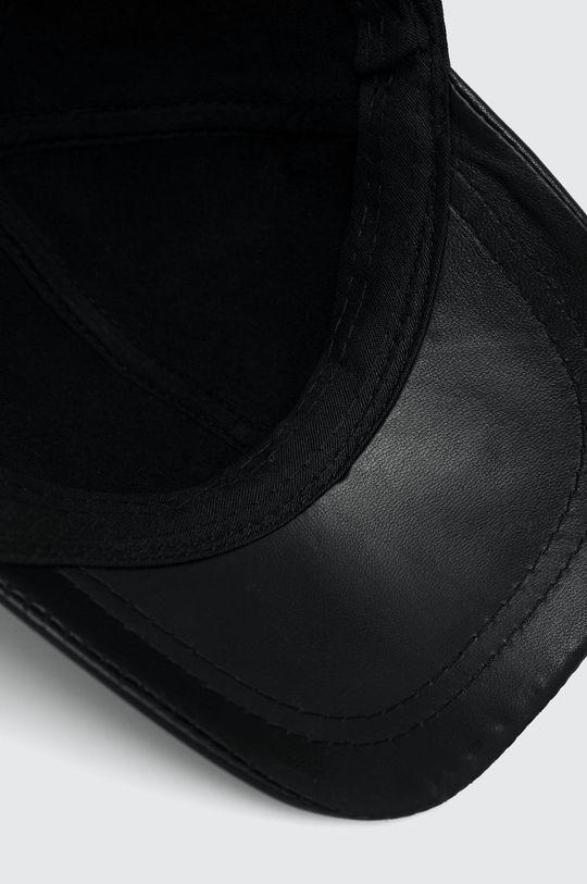 czarny Answear Lab - Czapka skórzana