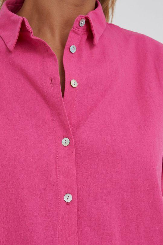 Answear Lab - Košile ze směsi lnu růžová