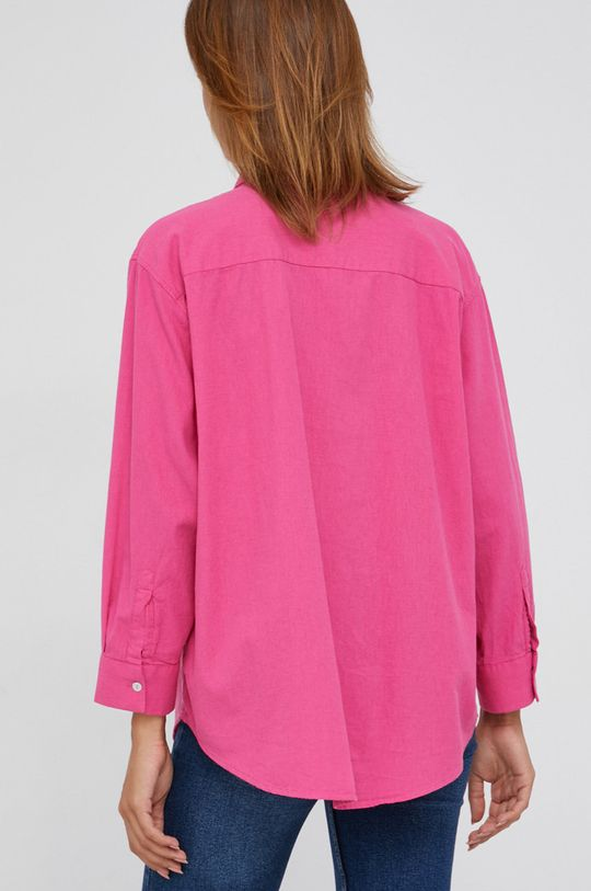 růžová Answear Lab - Košile ze směsi lnu