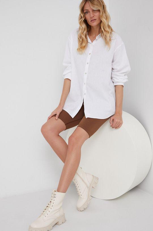 biały Answear Lab - Koszula z domieszką lnu Damski