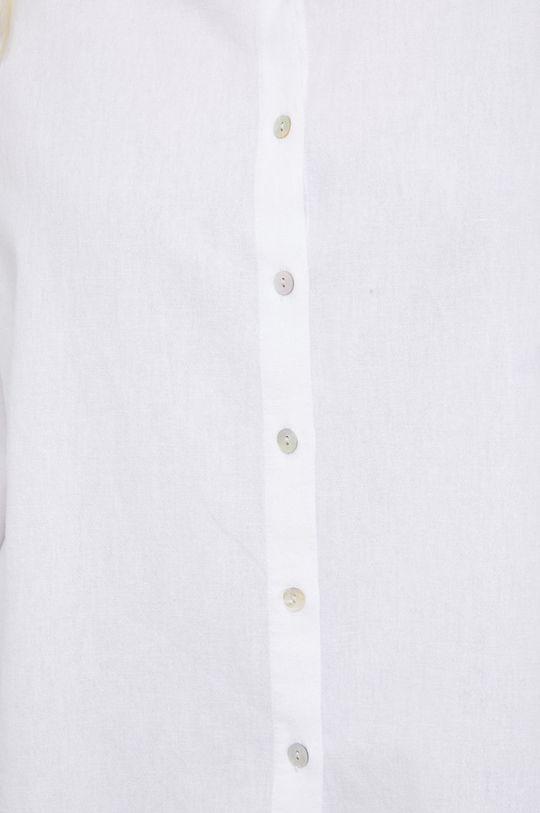 Answear Lab - Koszula z domieszką lnu biały