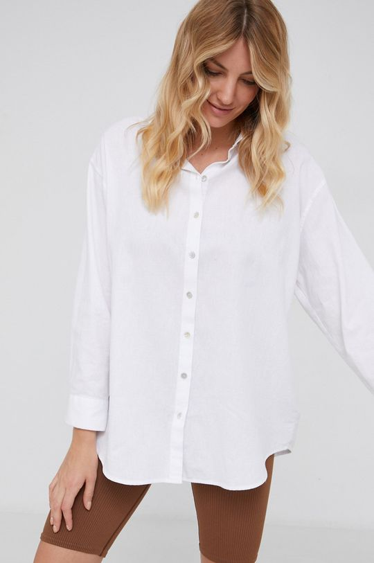 biały Answear Lab - Koszula z domieszką lnu