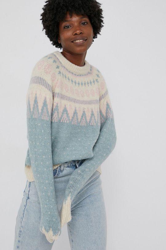 turkusowy Answear Lab - Sweter z domieszką wełny Damski