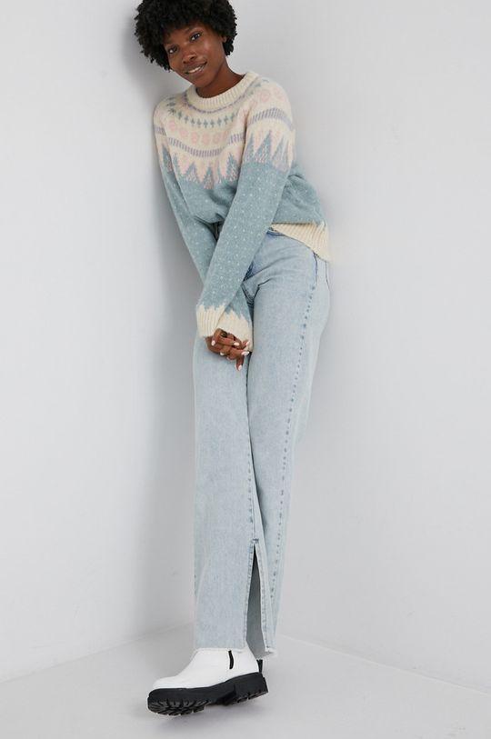 Answear Lab - Sweter z domieszką wełny turkusowy