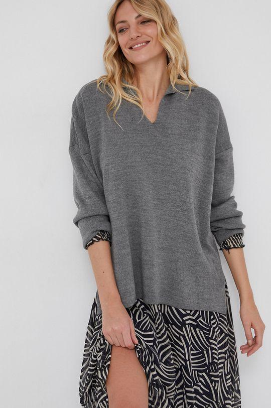 Answear Lab - Sweter z domieszką wełny szary