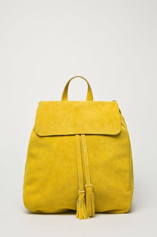 žlto-zelená Answear - Kožený ruksak Dámsky