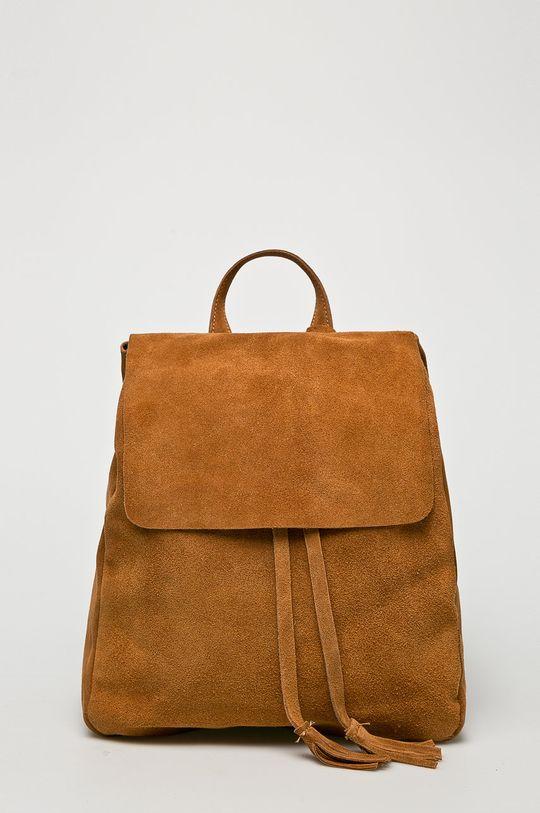 zlatohnedá Answear - Kožený ruksak Dámsky
