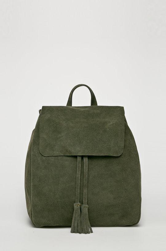 hnedozelená Answear - Kožený ruksak Dámsky