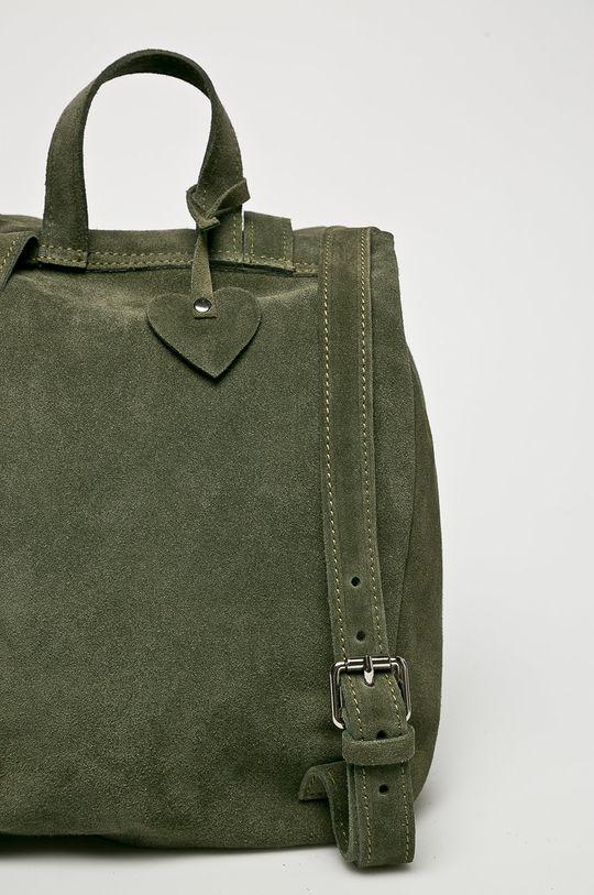 Answear - Kožený ruksak hnedozelená