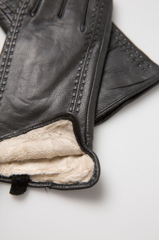 Answear - Kožené rukavice sivá
