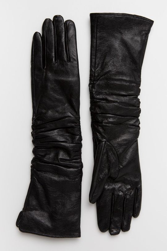 čierna Answear - Kožené rukavice Animal Me Dámsky