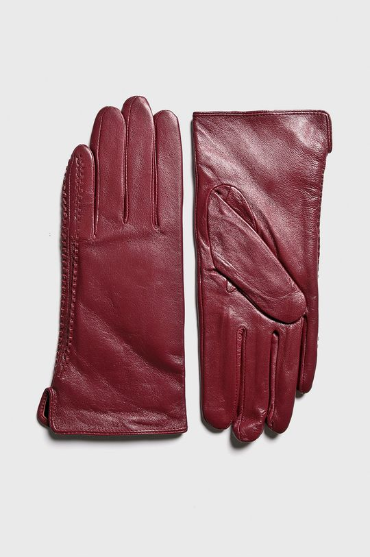 gaštanová Answear - Kožené rukavice Dámsky