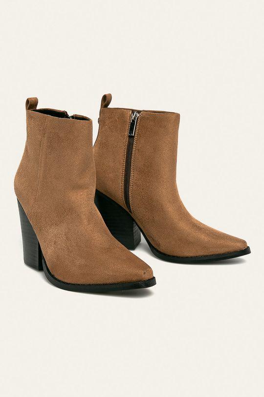 Answear - Členkové topánky zlatohnedá